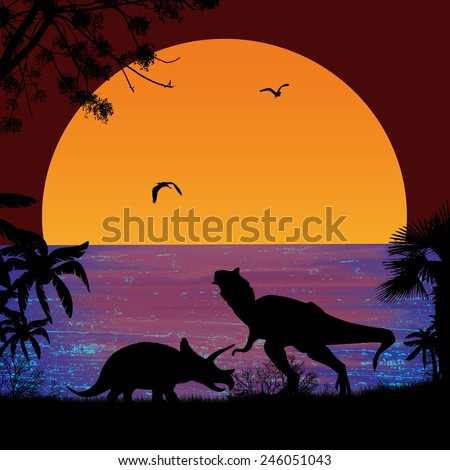 Dinosaurs Silhouettes - Tyrannosaurus T-Rex and Triceratops, in beautiful seascape at sunset near ocean - stock photo