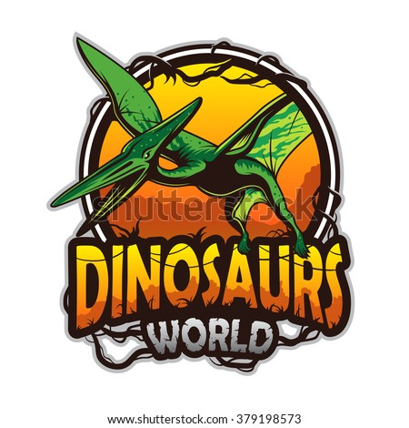Dinosaurs world emblem with pterodactyl. Colored isolated on white background - stock photo