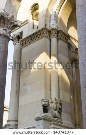 Diocletian palace ruins and cathedral bell tower, Split, Croatia. - stock photo