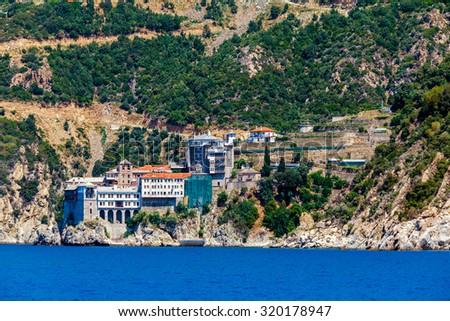 Dionissiou monastery, Athos Peninsula, Mount Athos, Chalkidiki, Greece - stock photo