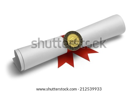 Diploma With Degree Medal and Red Ribbon Isolated on White Background. - stock photo