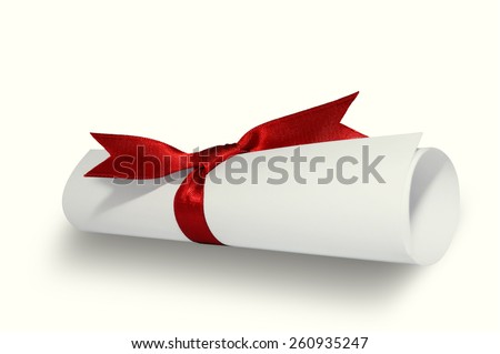 Diploma with red ribbon on white background. - stock photo