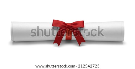 Diploma with Red Tied Bow Ribbon Front View Isolated on White Background. - stock photo