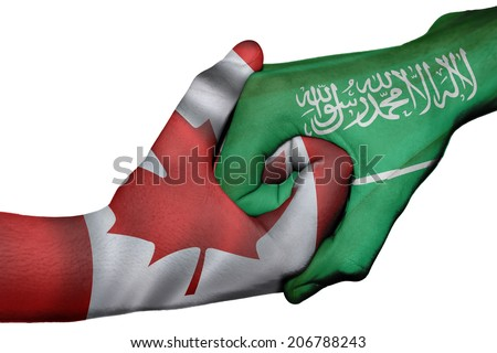 Diplomatic handshake between countries: flags of Canada and Saudi Arabia overprinted the two hands - stock photo