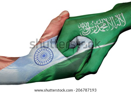Diplomatic handshake between countries: flags of India and Saudi Arabia overprinted the two hands - stock photo