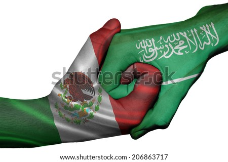 Diplomatic handshake between countries: flags of Mexico and Saudi Arabia overprinted the two hands - stock photo