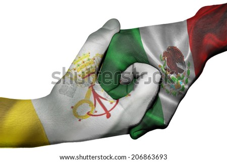 Diplomatic handshake between countries: flags of Vatican City and Mexico overprinted the two hands - stock photo