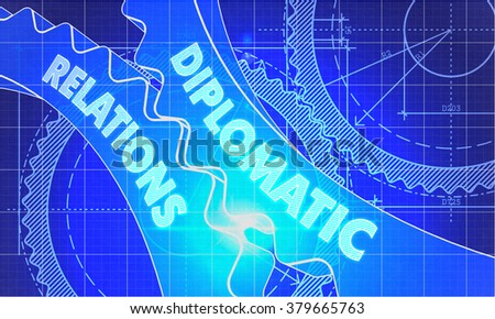 Diplomatic Relations on the Mechanism of Gears. Blueprint Style. Technical Design. 3d illustration, Lens Flare. - stock photo