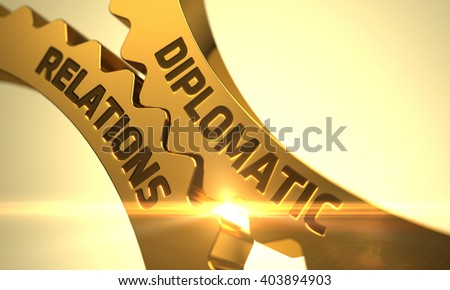 Diplomatic Relations on the Mechanism of Golden Cogwheels with Lens Flare. Diplomatic Relations on Mechanism of Golden Cogwheels. Diplomatic Relations - Illustration with Lens Flare. 3D Render. - stock photo