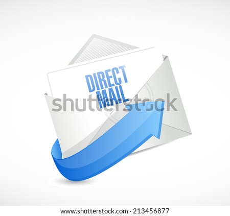 direct mail email message illustration design over a white background - stock photo