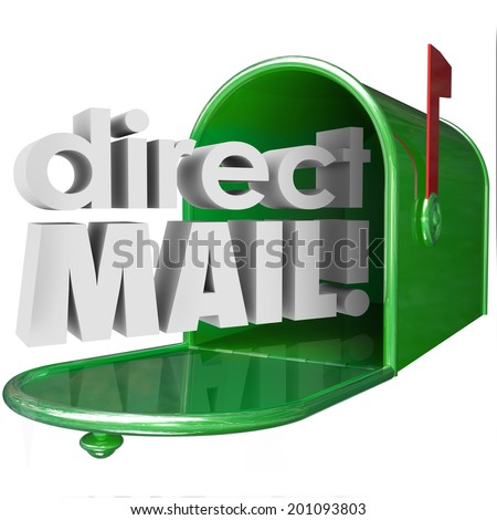Direct Mail words in 3d letters coming out of a green metal mailbox advertising  - stock photo
