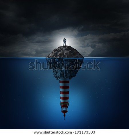 Direction crisis and uncertainty as a business concept with a confused businessman on a rock island in an ocean with a lighthouse beacon underwater as a financial metaphor for decision problems. - stock photo