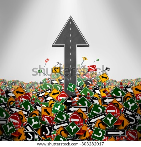 Direction freedom concept as a road shaped as an upward arrow breaking through a group of traffic signs as a business symbol for having a clear strategy and plan or escaping bureaucracy icon. - stock photo