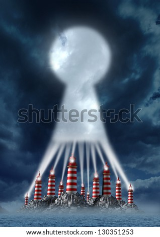 Direction key business concept as a group of lighthouse towers working together as a team of beaming lights merged in solidarity as a shape of a keyhole as a symbol of  team solutions to challenges. - stock photo