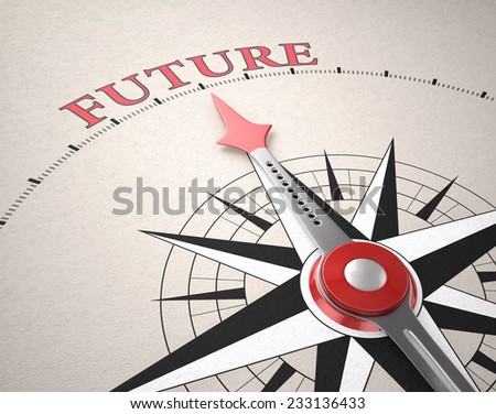 Direction of Future, Compass concept, 3d render - stock photo