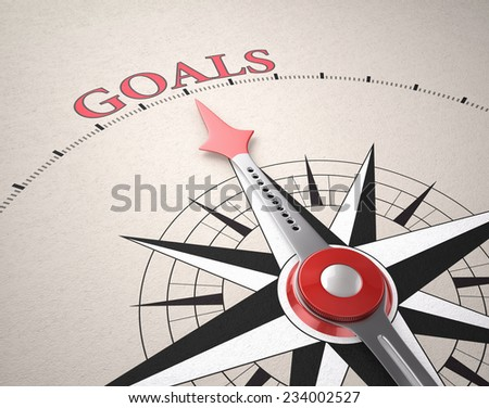 Direction of Goals, Compass concept, 3d render - stock photo