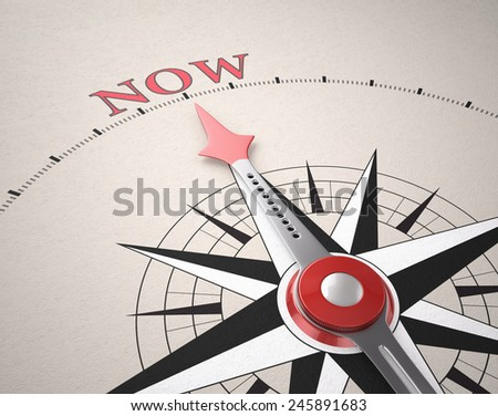 Direction of Now, Compass concept, 3d render - stock photo