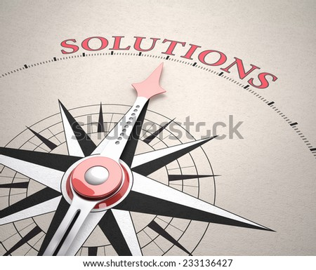 Direction of Solution, Compass concept, 3d render - stock photo