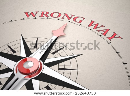 Direction of Wrong Way, Compass concept, 3d render - stock photo