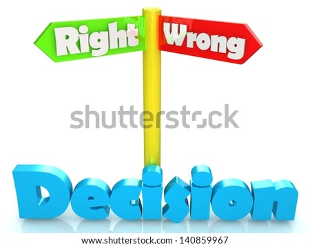 Direction pointer with words right and wrong - stock photo
