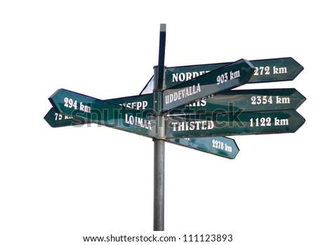 direction sign in Estonia, extracted - stock photo