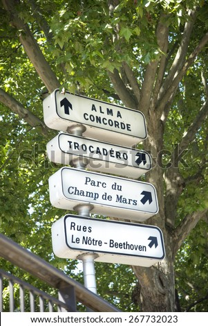 Direction sign in Paris France. - stock photo