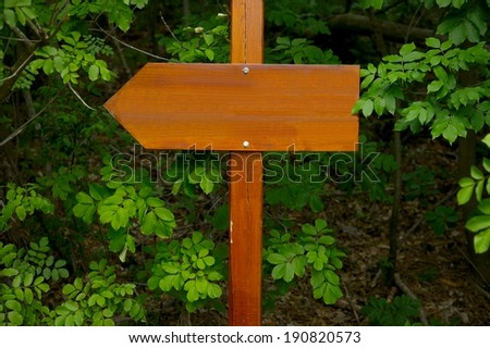 Direction sign in the woods - stock photo
