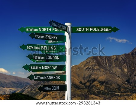 Direction sign to famous cities. Queenstown. New Zealand - stock photo