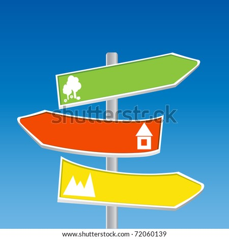 Direction Signs - mountain, forest, town - stock photo