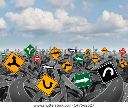 Direction uncertainty with a landscape of confused tangled roads and highways and a group of traffic signs competing for influence as a symbol of the challenges of planning a strategy for success.  - stock photo