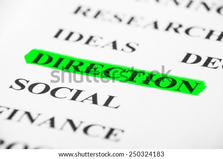 Direction with some other related words on paper. - stock photo