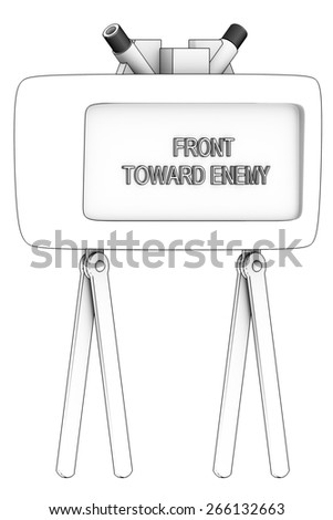 Directional anti-personnel mine used by the U.S. military. Isolated on white background. 3d - stock photo
