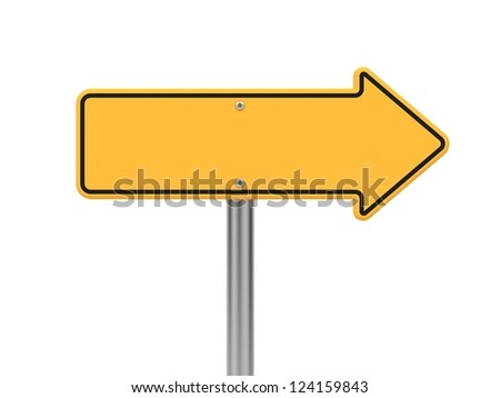 Directional Arrow Road Sign. Isolated on White. - stock photo