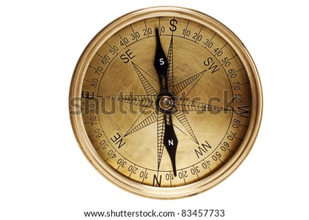 Directional compass on white - stock photo