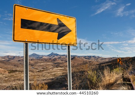 Directional Road Sign in Southern Arizona, USA. - stock photo