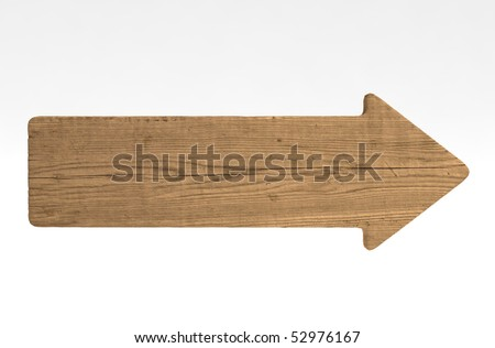 Directional sign made of old wood - stock photo