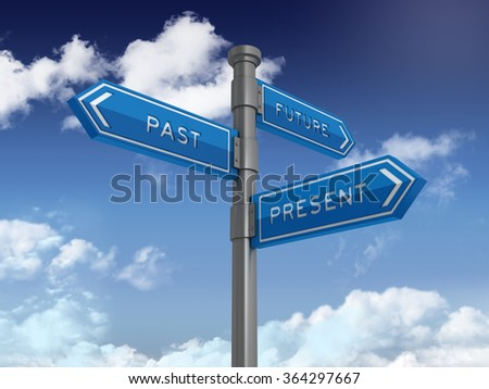 Directional Sign Series: FUTURE PAST PRESENT - Blue Sky and Clouds Background - High Quality 3D Rendering  - stock photo