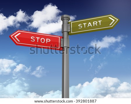 Directional Sign Series: STOP START BALANCE - Blue Sky and Clouds Background - High Quality 3D Rendering.   - stock photo