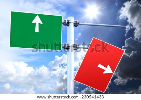 Directional signs indicating the modified text . And words that have opposite meanings. The sky is bright and the dark side.  - stock photo