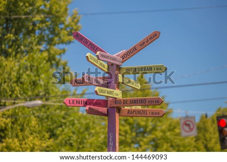 Directions sign post against blue sky in seattle fremont - stock photo