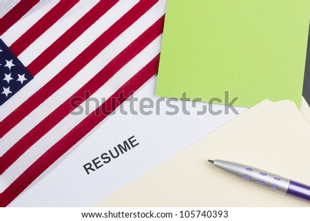 Directly above photograph of a resume title page. - stock photo