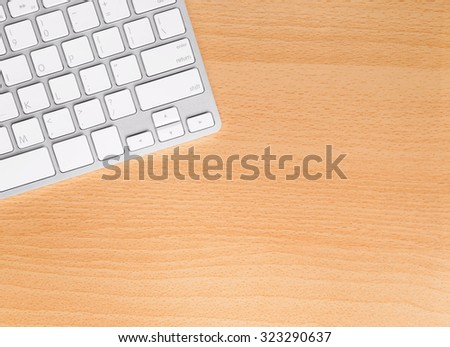 Directly above view of a office table with computer keyboard - stock photo