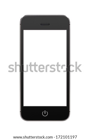 Directly front view of a modern black mobile smart phone with blank screen isolated on white background. High quality. - stock photo