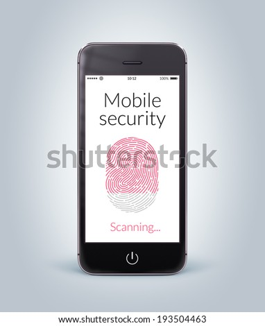 Directly front view of black modern smartphone with mobile security fingerprint scanning on the screen. - stock photo