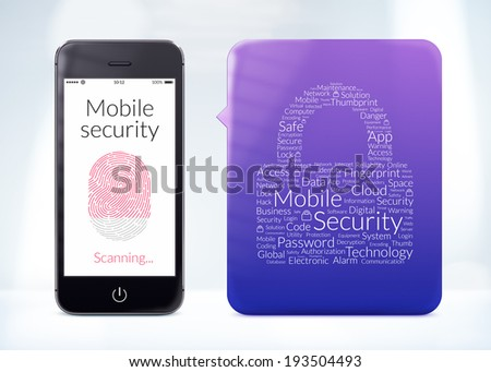 Directly front view of fingerprint scanning on smartphone screen with word cloud sticker about mobile security. - stock photo