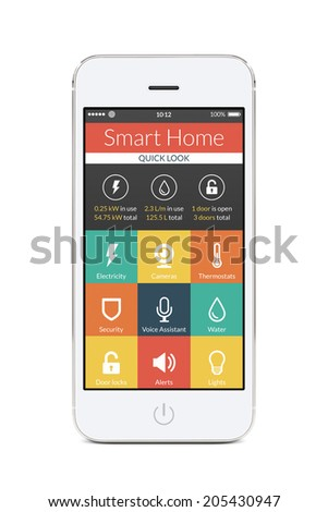 Directly front view of white smartphone with flat design smart home application on the screen isolated on white background. For access to all of the controls of your house and caring of home security. - stock photo