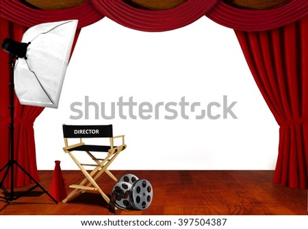 Director chair and equipment standby for audition on stage - stock photo