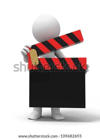 director/clapper/movie /A people is holding a clapper - stock photo