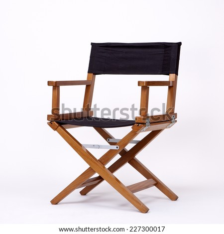 Director's Chair in Film Industry, Isolated on White background with Real Shadow - stock photo