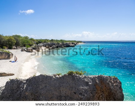 Directors Bay - Curacao a tropical island in the Caribbean Ocean - stock photo